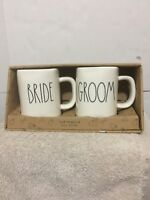 Rae Dunn Pottery Just Married Bride/Groom Coffee Mugs Large Black Letters NEW