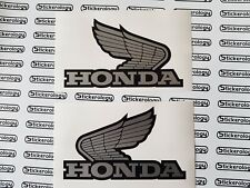 HONDA WINGS SILVER BLACK STICKERS PAIR LEFT/RIGHT CLASSIC