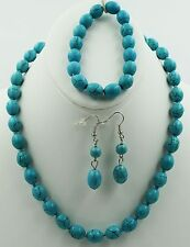 Blue Turquoise Beads Chunky Statement Bib Necklace + Bracelet +Earrings Set ND52