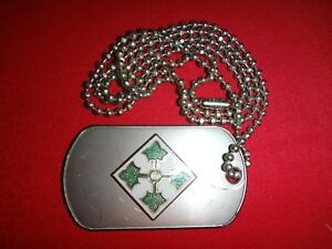 US 4th INFANTRY DIVISION Stainless Steel Dog Tag + Ball Chain