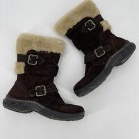 Earth Spirit Brigitte Brown Suede Leather Faux Fur Zip Mid Calf Boots Women Sz 6
