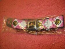 "Buckle Down Power Rangers Pink Seatbelt Fun Pet Collar Wide Small 13-18"" New!"
