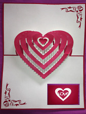 "Carte de Saint Valentin amour mariage ""Grand Coeur"" en 3D kirigami Pop Up"