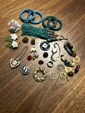 New listing womens junk drawer lot Buttons Repair Watch Brooches Misc