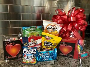 Valentines Kids Gift Basket / Box With Chocolates-Cookies-Candy Red Box-Red Bow