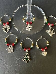 Luxury Christmas Wine Glass Charms (Set B - 6 In Total)