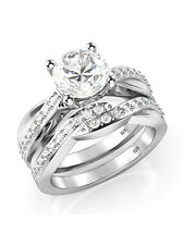 Women's Wedding Engagement Bridal Ring Set  925 Sterling Silver Aaa Cz Infinity