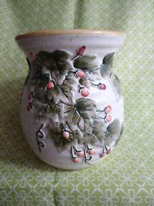 Yankee Candle Tart Burner Wax Melter Ivy w Pink Berries Textured Use Tea Light