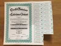 CREDIT FONCIER D'EXTREME ORIENT 1907 250 FRANCS SHARE CERTIFICATE WITH COUPONS