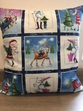"Cute Christmas 16"" x 16"" Cushion Cover with Festive Panels"