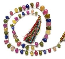 """Natural Gem Multi Sapphire 7x5 to 11x8MM Faceted Teardrop Briolette Beads 17"""""""