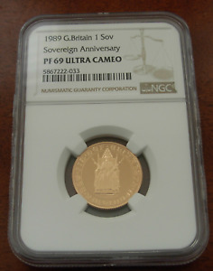 Great Britain 1989 Gold 1 Sovereign Pound NGC PF69UC 500th Anniversary