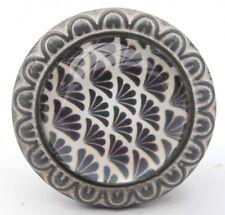 Retro Möbelknauf Möbelknopf Glas Metall grau Vintage Muster