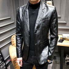 Men's Casual Leather Suit Blazer Button Formal Coats Jackets Slim Fit Outerwear