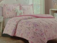 4 pc Cloud 9 Enchante Paris Twin Comforter Sham, Deco Pillow, Wall Decal Set NIP