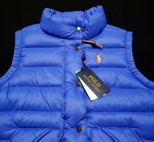 Polo Ralph Lauren Quilted Down Women's Small Blue Puffer Vest Pinstripe $198