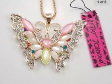 Betsey Johnson Necklace BUTTERFLY Colorful CRYSTALS Gift Box and Bag