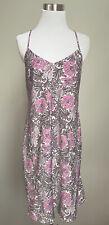 Gilligan & O'Malley Sleepwear L Chemise Purple Floral Lacy Straps Satin V Neck