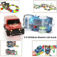 2X Electric Rail Track Truck Car Racing Game Set Led Fun Model Toy for Kids