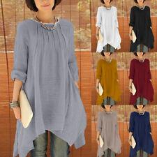 ZANZEA AU8-24 Women Long Sleeve Pleated Asymmetrical Hem Tee Shirt Blouse Tops