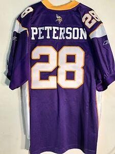 Reebok Authentic NFL Jersey MINNESOTA Vikings Adrian Peterson Purple sz 48