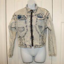 Vintage 1980s Acid Wash Jean Jacket Tapered Sleeves Rocker Style M