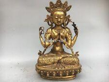 17'' Bronze gold plating carved Shadakshari Avalokitesvara Four-armed Gwan Yin