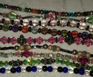 Vintage Mixed Lot 925 Sterling Silver Art Glass Crystal Bead Long Bracelets 9