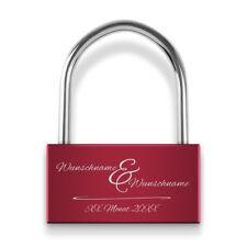 Liebesschloss Breit 50mm Vorhängeschloss Gravur Schlüssel Rot - Zusammen