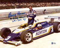 BOBBY UNSER SIGNED AUTOGRAPHED 8x10 PHOTO +3 INDY WINS RACING LEGEND BECKETT BAS