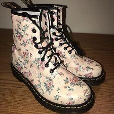 DR DOC MARTENS Vintage Floral Softy Rose Boots 1460 W 8-Eye Boho Prairie SZ US 6