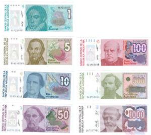 Argentinien 1 - 1.000 Australes (1985-90)  kassenfrisch  Pick 323-329