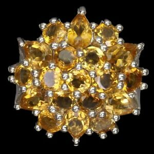 Unheated Pear Yellow Citrine White Gold Plate 925 Sterling Silver Flower Ring