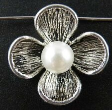 10pcs Tibetan Silver And Pearl Flower Charms Jewelry DIY 24x9mm 12552