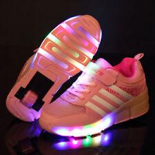 Kids Roller Shoes Boys Girls Sports Wheels Skates Gift Flash LED Heelys Trainers Pink EUR 32 UK 13