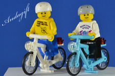 LEGO bicycles blue azure bicycle and white bike with custom minifigures NEW