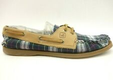 Sperry Top Sider Green Plaid Slip On Deck Boats Loafers Shoes Women's 9.5 M
