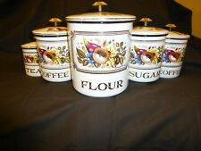 Vintage Retro Georges Briard 5 Pc Enamelware Canister Set Fall Theme Awesome!