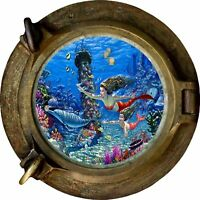 Huge 3D Porthole Fantasy Mermaids Under Sea View Wall Stickers Mural Decal 447