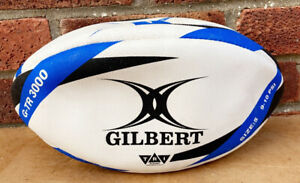 GILBERT TRI G-TR 3000 - Vintage Genuine Leather Size Rugby Ball - Never Used VGC
