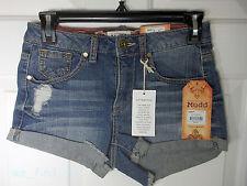 Mudd Ladies Denim Cut Off Shorts High Waist Dolphin Frays Size 0 MSRP $34