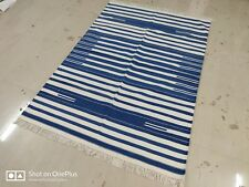 Handwoven 4'x6'  Blue & White Reversible Cotton Rug Dhurrie Area Rug Flat Weave