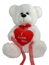 "*NEW* WHITE LOVE YOU TEDDY BEAR SOFT PLUSH VALENTINES DAY GIFT - 12"" Sitting"