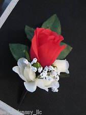 Red Cream Black Satin Wrap Rose Bud Flower Boutonniere Wedding Groomsmen