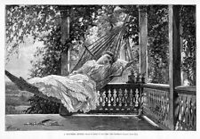 YOUNG GIRL SWINGING IN HAMMOCK ON MIDSUMMER DAY, 1883 ANTIQUE ENGRAVING FASHION