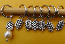 Stitch marker, knitting 6+1 ,  pewter basket weave and pearl