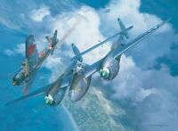 """High Noon Over Alicante"" Roy Grinnell Print co-signed by P-38 Ace J.T. Robbins"
