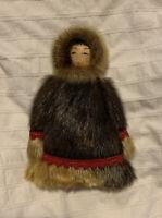 Beautiful Vintage Handmade Alaska Eskimo Inuit Doll with Fur Painted Wood Face