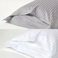 100% EGYPTIAN COTTON 400TC STRIPE PILLOWCASE PAIR HOUSEWIFE PILLOW COVER WHITE
