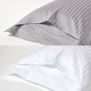 Sateen Stripe Pillow Cases 100% Egyptian Cotton 400TC 600TC White Pillow Covers